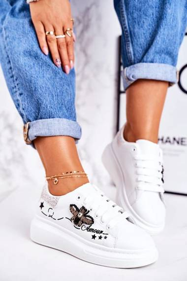 Women's Sport Shoes Sneakers With Fly White Silver Amour