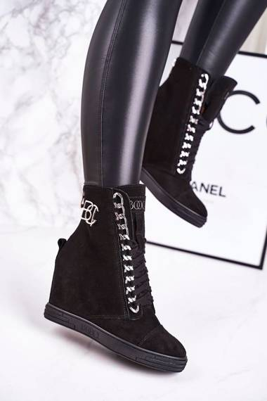 Women's Suede Wedge Sneakers BOOCI 2222/066/s Silver Chain Black