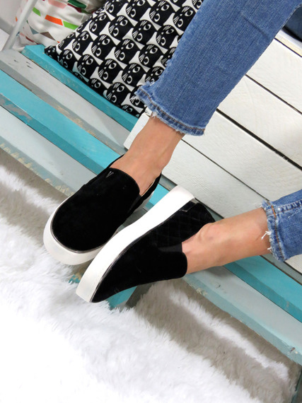 Slip On shoes faux suede flats mocassins