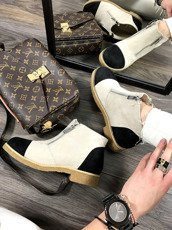Beige Ankle Shoes With Fancy Zippers