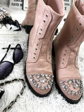 LU BOO PINK WORK BOOTS WITH GLITTER JEWELS