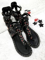 Lu Boo Synthetic Leather Studded Gladiator Flat Sandals