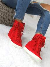 Red Sneakers Suede Fringe