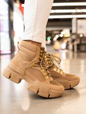Sand Micro Chunky Lace-Up Sneakers